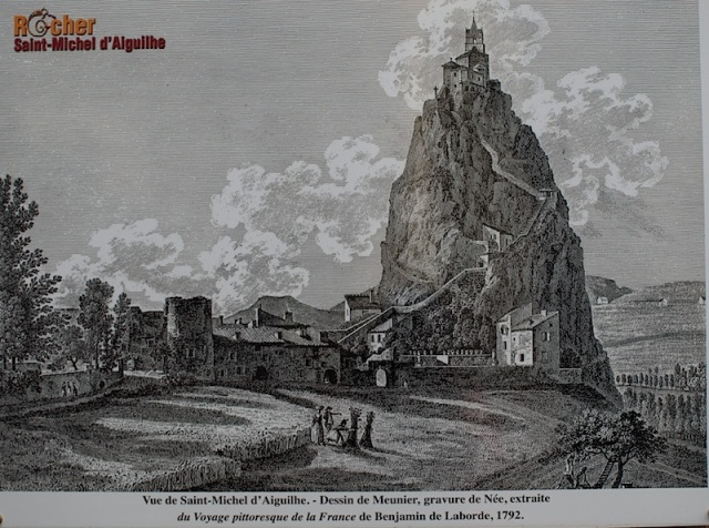 A 1792 engraving of the Chapel of St Michael d' Aiguilhe. In French 'aiguilhe' means 'needle'.