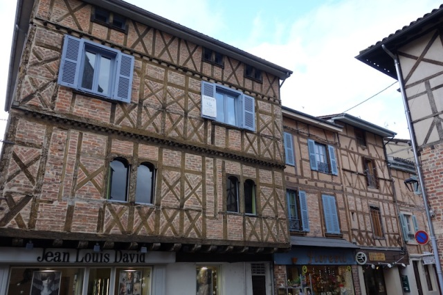 Half-timbered house and shop in the main street of Chatillon-sur-Chalaronne