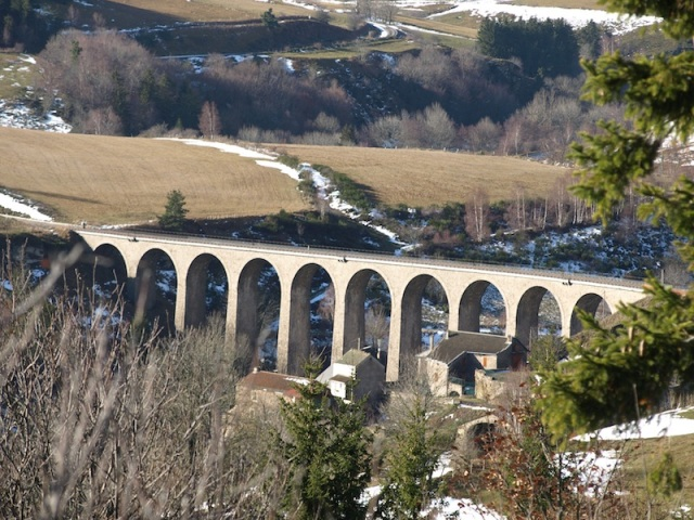 Circular arch railway viaduct at Mirandol. The viaduct is actually built over the village.