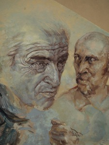 Detailed portrait, part of a large mural.