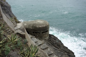 At the base of the western headland is a WW2 bunker.  Bunkers like this are scattered all along the Italian Riviera coastline.