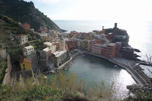 View of Vernazza from on the track.