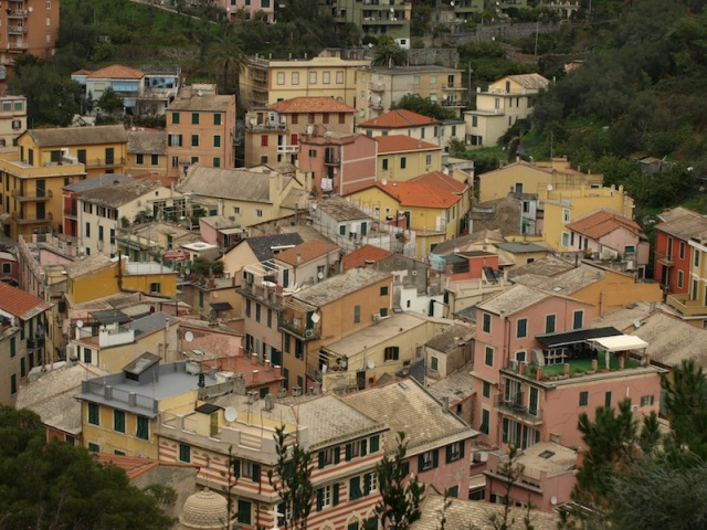 Portion of Monterosso old town. Our apartment is in the middle of the photograph.
