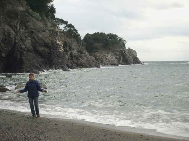 Playing on Monterosso beach.