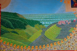 A painting depicting a terraced hillside of the Cinque Terre region.  The sun and the Virgin Mary look down on the Garden of Eden.