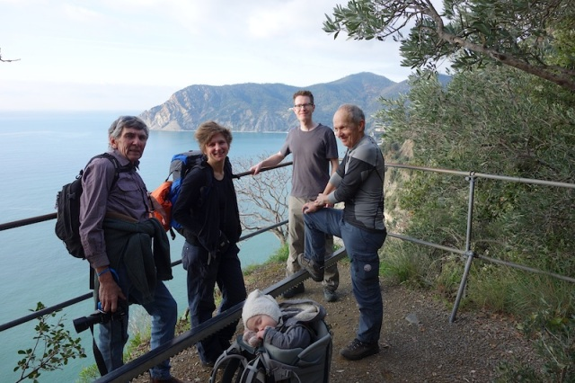 Our Swiss friends Rahel, Michi, Peter and Sweet Emma (who is sound asleep) on the trail between Vernazza and Monterosso.