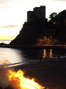 Another Monterosso sunset.  The fire on the beach is driftwood being disposed of.