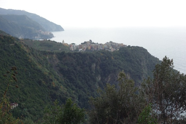 Looking back to Corniglia. The railway station is at sea level over the cliff edge.