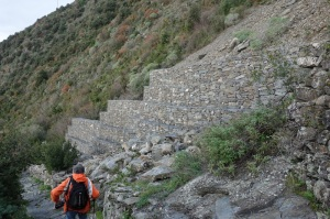 Remedial action to stop landslides. Very well built Gabian wall.