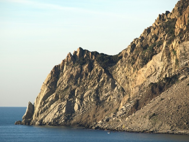 Close up of Punta Mesco. In ancient times sandstone was mined here.