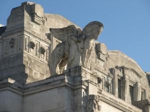 Facade of Milan railway station.