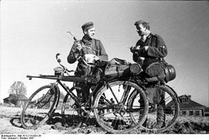 German bicycle infantry on northern Soviet front in 1941. Image from Wikipedia.