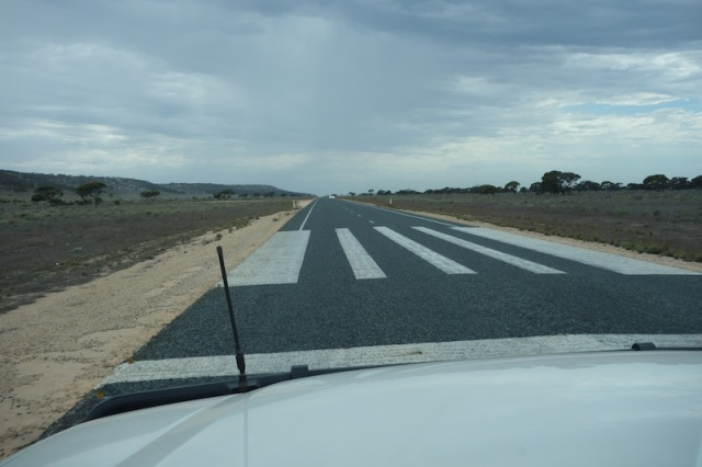 This is not a pedestrian crossing. It marks the end of an emergency airstrip.