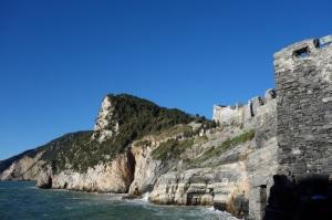 Cliffs below San Pietro church and the fortress walls.