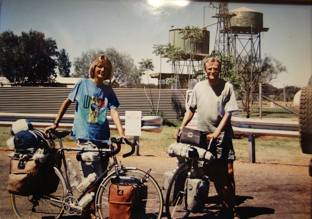 Erika and Rolf on the road. This photograph was taken in 1990 by a passing traveller near Tennant Creek N.T. Australia.