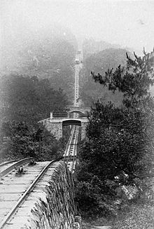 This 1897 image shows clearly how steep the track is up to the peak. Today there are houses and apartments built up to the edge of the line.