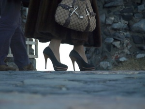 The lady with style and her inappropriate footware for the cobblestone paths of Porto Venere.