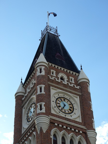 Perth Town Hall spire. Note the broad-arrow loopholes. This style is classified as Victorian Free Gothic.