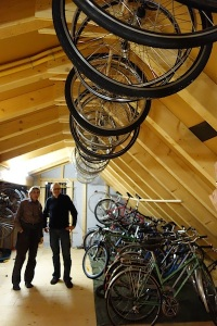 Rolf's bike collection in the attic of their house.  Note the size of the timbers in the roof.