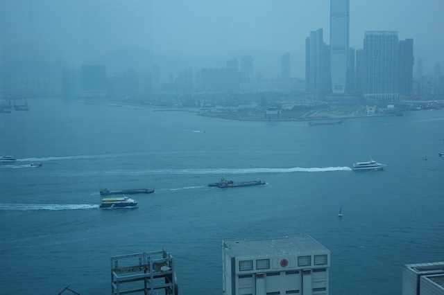 Thick atmospheric view across Victoria Harbour from our Hong Kong hotel. It is well documented that breathing air like this is detrimental to one's health.