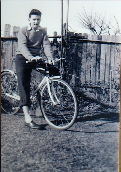 Me and my bike (circa late 1950s). Interesting Brylcreem hair eh!