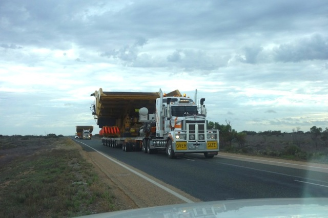 Crossing the Nullarbor means not only contending with long trucks but wide ones as well; two, in this case.
