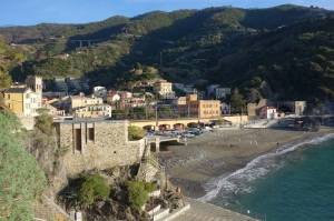 Monterosso beach. The tunnel/creek discharges into the sea at the left end of the beach.