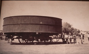 Wide load in horse-drawn vehicle days.