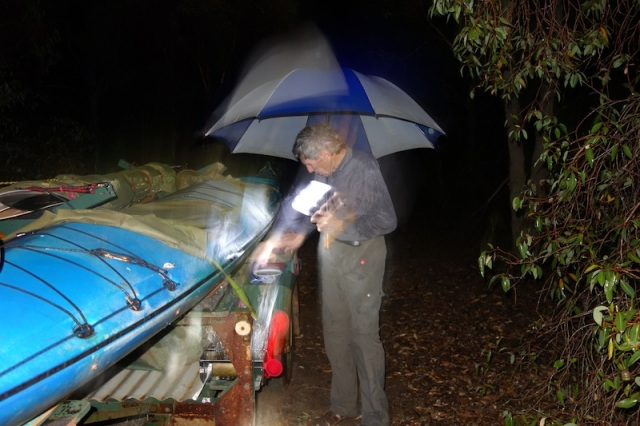 Knocking up a feed on the mudguard of the kayak trailer.