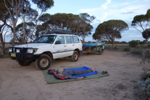 Testing our bed at the Blowhole Road camp.