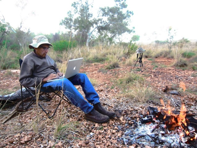 Writing in a creek near Roebourne WA. Also at day's end.