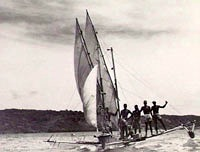 Large Torres Strait canoe under sail. Image courtesy of Australian War memorial.