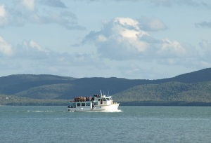 'Australia Fair', the ferry from Horn Island to Thursday Island.  Prince of Wales Island in the background.