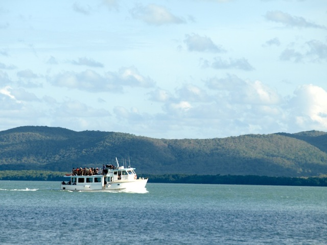 The ex Sydney Harbour ferry 'Australia Fair' passing by Prince of Wales Island en route from Horn Island to Thursday Island.