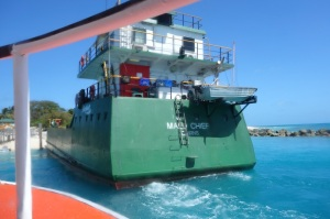 Stern view of the inter island barge Mau Chief. Barges like this are the lifeblood of the islands.