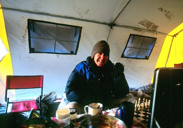 Toby in the kitchen tent on the Ulugh Muztagh expedition.