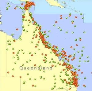 Map showing EPIRB and operational incidents for Queensland for the 12 months period March 2010 to March 2011. Map courtesy of AMSA.