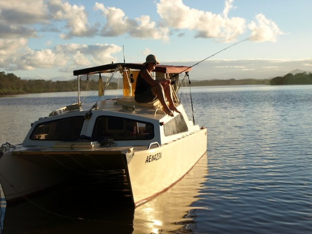 Relax on tranquil waters like this? Nambucca River NSW. This is our catamaran Mopoke.
