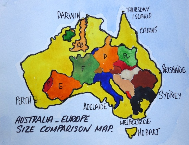 Map showing size comparison of Europe to Australia.