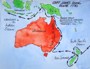 Captain James Cook's voyage to the Great South Land.
