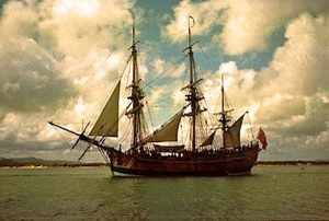 Replica of H.M. Bark Endeavour.  Image by John Hill via Wikipedia.