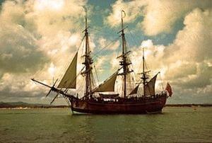 Replica of H.M. Bark Endeavour.  Image by John Hill via Wikipedia.