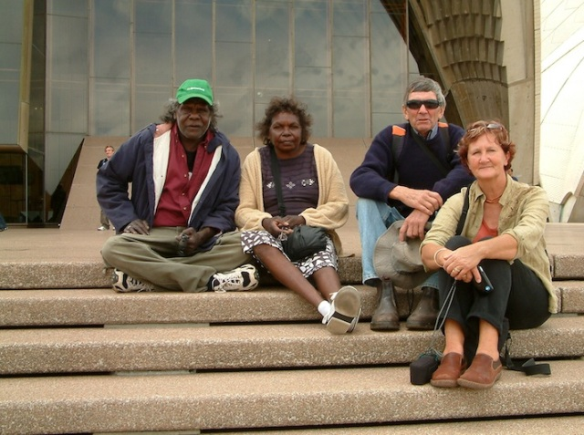 Moses and his wife Marrawuy, Bev and me on the Opera House steps at Bennelong Point.