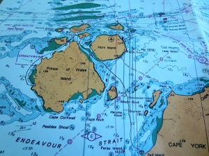 Endeavour Strait is clearly marked at the bottom of this nautical chart. Possession Island is to the northeast of Heroine Rock in the centre of Endeavour Strait.