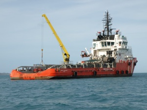 The Pacific Responder.  We came across the Responder when out on a fishing trip to the west of Thursday Island.