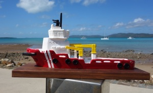 A ceramic reproduction (about 300mm long) of the Pacific Responder I made for Australian Maritime Safety Authority.