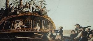 The mutineers casting Bligh and loyal seamen adrift.