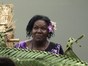 Storyteller Betty at the re-opening of the Gab Tatui Cultural Centre Thursday Island.