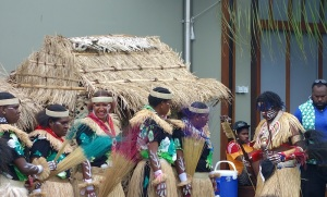 Dancers from Sabai Island getting ready to do what appeared to be the sweeping the floor dance!