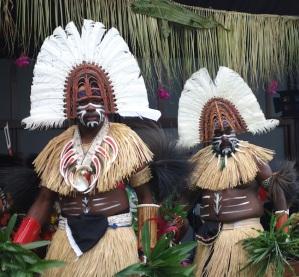 Sabai Island warriors in dancing garb at the cultural centre.